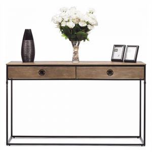 Contemporary Iron Console Table with 2 Storage Drawers
