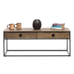 Contemporary Iron Coffee Table with 4 Storage Drawers