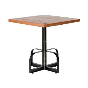 Square Iron Bistro Bar Table with Reclaimed Wood Top - Clear Finish