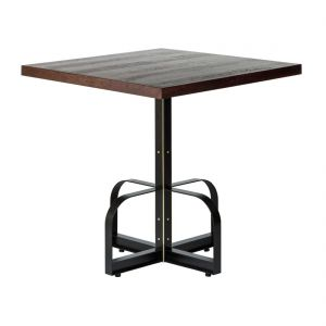 Square Iron Bistro Bar Table with Reclaimed Wood Top - Walnut Finish