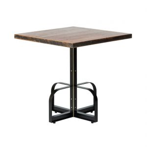 Square Iron Bistro Bar Table with Reclaimed Wood Top - Black Marks Finish