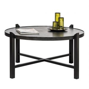 Large Round Iron Coffee Table with Silver Finish