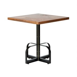 Square Iron Bistro Bar Table with Reclaimed Wood Top - Parquetry Clear Finish