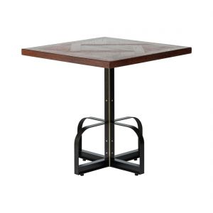 Square Iron Bistro Bar Table with Reclaimed Wood Top - Parquetry Walnut Finish