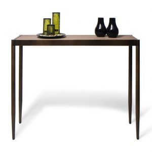 Slim Contemporary Hallway Console Table with Wood Top – Dark Brass
