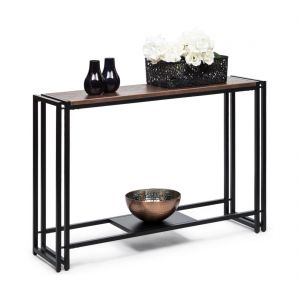 Slim Contemporary Iron Hallway Console Table with Textured Top