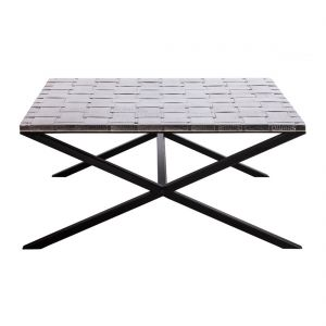 Iron Square Coffee Table with Woven Stainless Steel Top