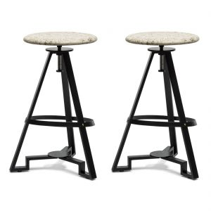 Modern Iron Bar Stool - Printed Fabric Top