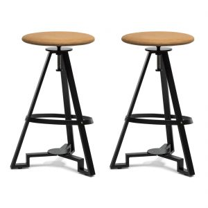 Modern Iron Bar Stool - Orange Fabric Top