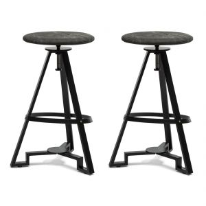 Modern Iron Bar Stool - Stone Wash Fabric Top
