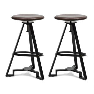Modern Iron Bar Stool - Leather Top