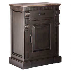 Small Iron Sideboard with Rustic Wood Top