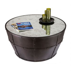 Round Iron Barrel Coffee Table with Smoked Glass Top