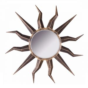 Sunburst Iron Wall Mirror with Burnt Brass Finish