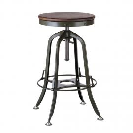 Industrial Iron Bar Stool with Wood Top –  Army Green
