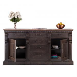 Large Iron Sideboard with Rustic Wood Top