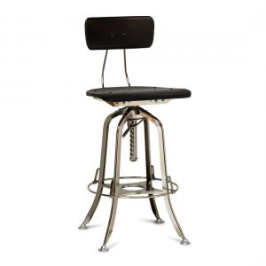 Industrial Wooden Iron Bar Stool Chair - Nickel Black