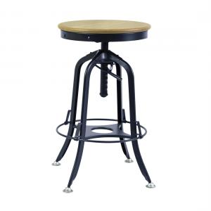 Industrial Iron Bar Stool with Wood Top –  Black Rustic